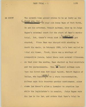 Primary view of object titled '[News Script: Raso trial]'.