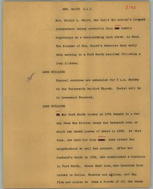 Primary view of object titled '[News Script: Mrs. Baird]'.