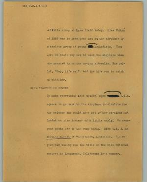 Primary view of object titled '[News Script: Mis U.S.A.]'.