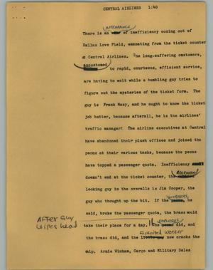 Primary view of object titled '[News Script: Central airlines]'.