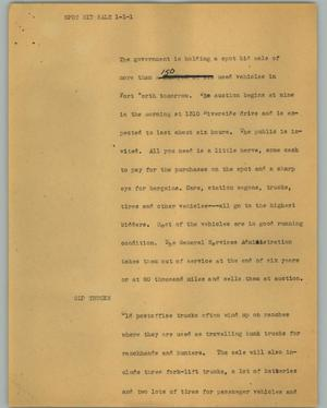 Primary view of object titled '[News Script: Spot bid sale]'.