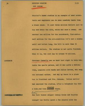Primary view of object titled '[News Script: Houston stadium]'.