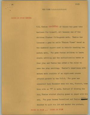 Primary view of object titled '[News Script: New Game]'.
