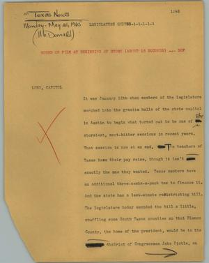 Primary view of object titled '[News Script: Legislature quitss]'.