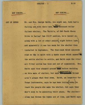 Primary view of object titled '[News Script: Shelter]'.