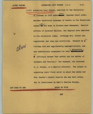 Primary view of object titled '[News Script: Autherine Lucy Foster]'.