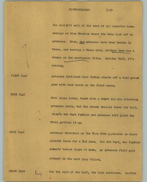 Primary view of object titled '[News Script: Rice Arkansas]'.