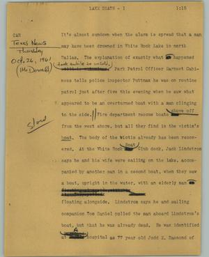 Primary view of object titled '[News Script: Lake death]'.