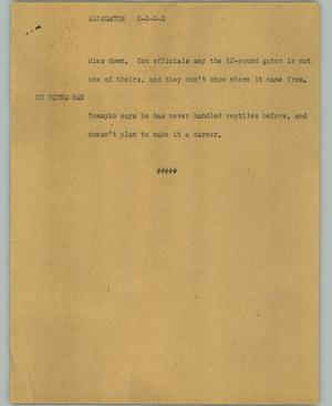 Primary view of object titled '[News Script: Allegator]'.