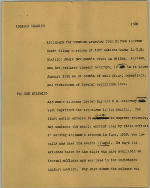 Primary view of object titled '[News Script: Addison hearing]'.