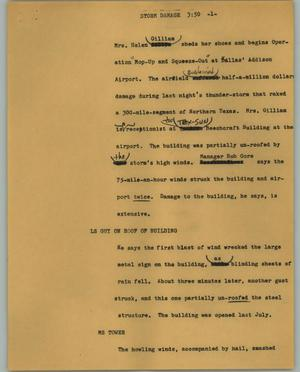 Primary view of object titled '[News Script: Storm damage]'.