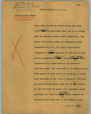 Primary view of object titled '[News Script: Dallas schools]'.