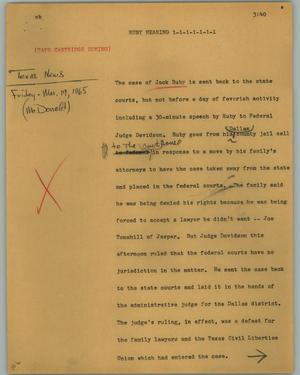 Primary view of object titled '[News Script: Ruby hearing]'.
