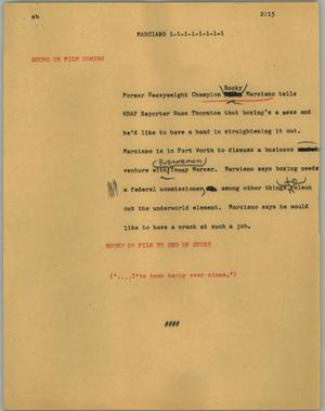 Primary view of object titled '[News Script: Marciano]'.
