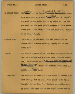 Primary view of object titled '[News Script: Perrin storm]'.