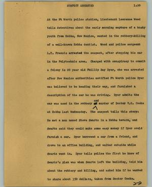 Primary view of object titled '[News Script: Suspect arrested]'.