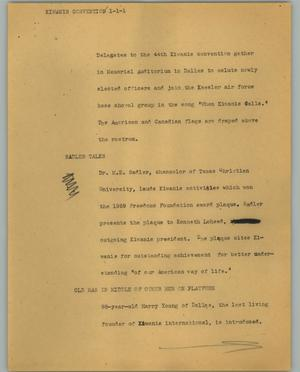 Primary view of object titled '[News Script: Kiwanis convention]'.