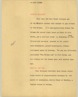 Primary view of object titled '[News Script: McCann dinner]'.