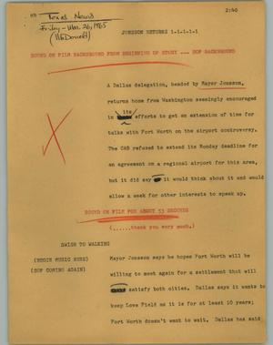 Primary view of object titled '[News Script: Jonsson returns]'.