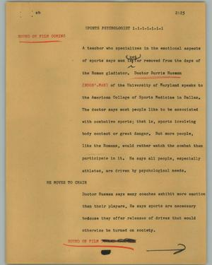 Primary view of object titled '[News Script: Sports psychologist]'.
