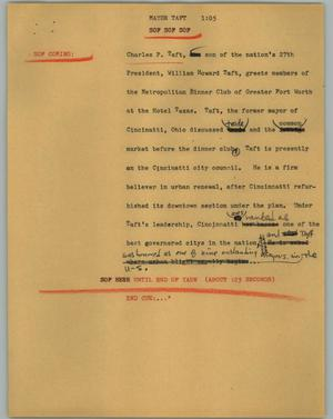 Primary view of object titled '[News Script: Mayor Taft]'.