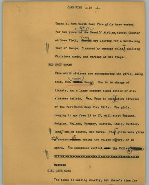 Primary view of object titled '[News Script: Camp fire]'.