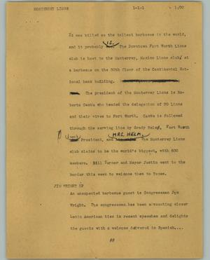 Primary view of object titled '[News Script: Monterrey Lions]'.