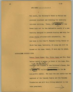 Primary view of object titled '[News Script: JFK home]'.