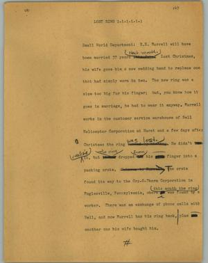 Primary view of object titled '[News Script: Lost ring]'.