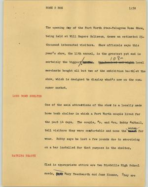 Primary view of object titled '[News Script: Home s hoe]'.