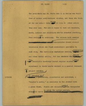 Primary view of object titled '[News Script: St. Marks]'.