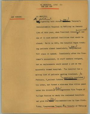 Primary view of object titled '[News Script: VA hospital]'.