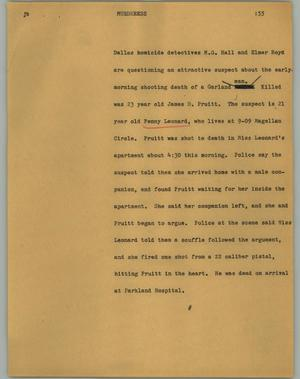 Primary view of object titled '[News Script: Murderess]'.