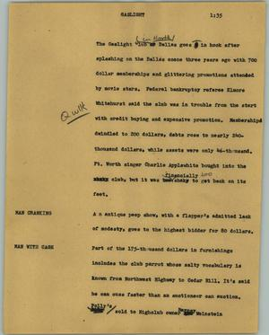 Primary view of object titled '[News Script: Gaslight]'.