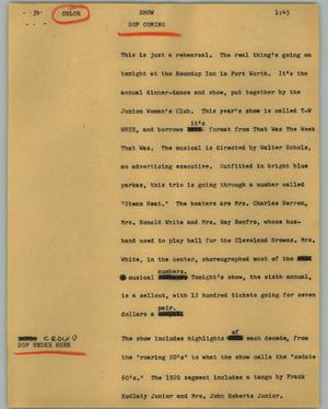 Primary view of object titled '[News Script: Show]'.