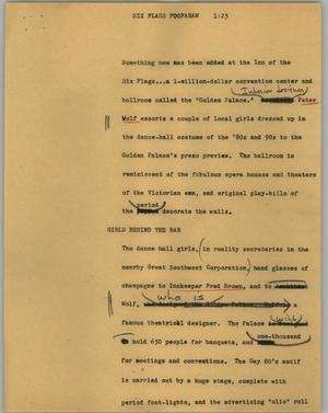 Primary view of object titled '[News Script: Six Flags foofaraw]'.