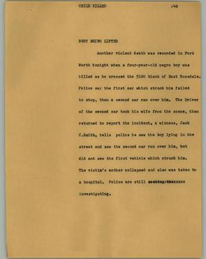 Primary view of object titled '[News Script: Child killed]'.