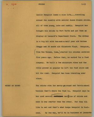 Primary view of object titled '[News Script: Chicks]'.