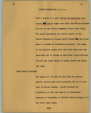Primary view of object titled '[News Script: Caruth Foundation]'.
