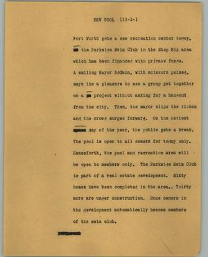 Primary view of object titled '[News Script: New pool]'.