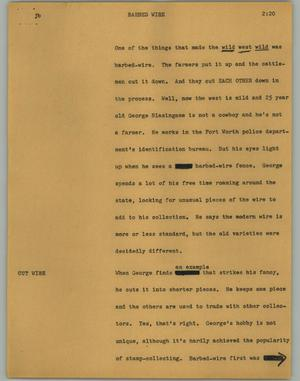 Primary view of object titled '[News Script: Barbed wire]'.