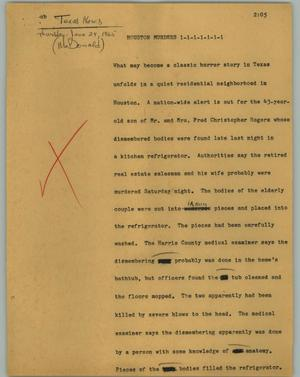 Primary view of object titled '[News Script: Houston murders]'.