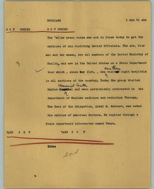 Primary view of object titled '[News Script: Russians]'.
