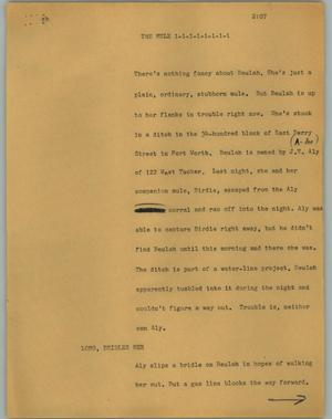Primary view of object titled '[News Script: The mule]'.