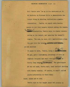 Primary view of object titled '[News Script: Shooting instruction]'.
