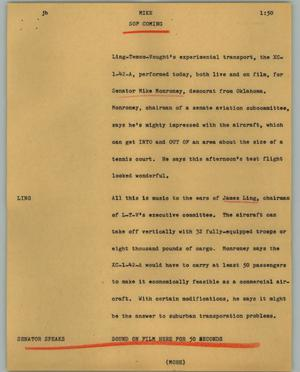 Primary view of object titled '[News Script: Mike]'.