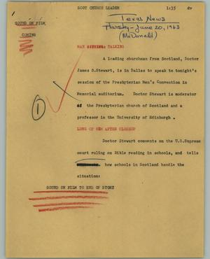 Primary view of object titled '[News Script: Scot church leader]'.