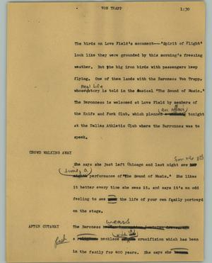 Primary view of object titled '[News Script: Von Trapp]'.