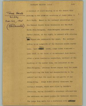 Primary view of object titled '[News Script: Contempt hearing]'.
