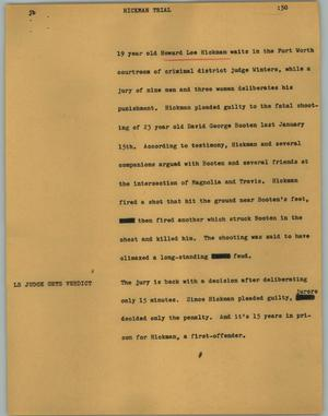 Primary view of object titled '[News Script: Hickman trial]'.